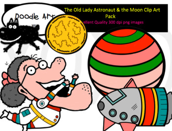 The Old Lady Astronaut and the Moon Clip Art Pack