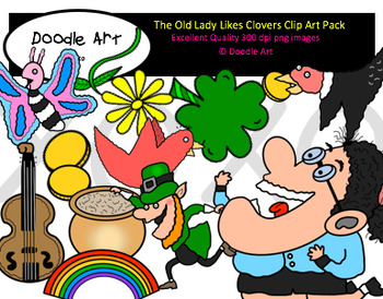 The Old Lady Likes Clovers Clipart Pack