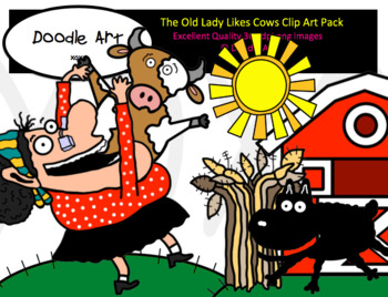 The Old Lady Likes Cows Clip Art Pack