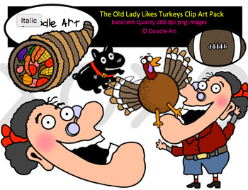 The Old Lady Likes Turkeys Clipart Pack