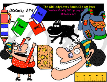 The Old Lady Loves Books Clipart Pack