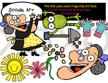 The Old Lady Who Loves Frogs Clipart Pack