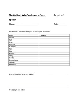 The Old Lady Who Swallowed a Clover (Speech Therapy Worksheets)