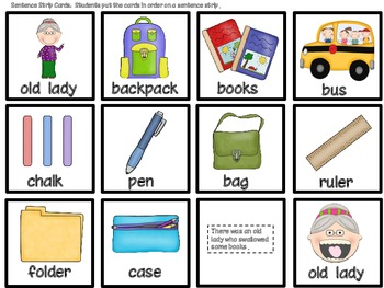 The Old Lady who Swallowed Some Books Kindergarten/ Sequencing