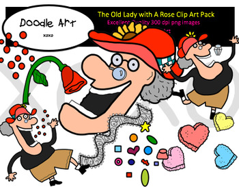 The Old Lady with a Rose Clipart Pack