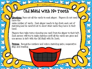 The Old Maid with No Teeth Game & Matching Game