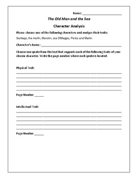 The Old Man and the Sea - Character Analysis Activity - Ernest Hemingway