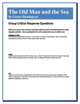 The Old Man and the Sea - Hemingway - Group Critical Response Questions