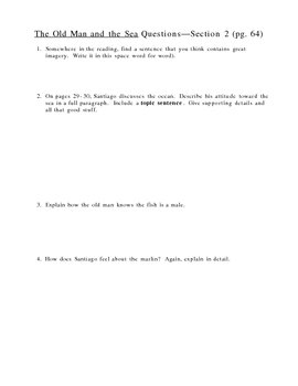 The Old Man and the Sea (Hemingway) study guide / questions