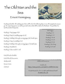 The Old Man and the Sea Reading Schedule and Journal Prompts
