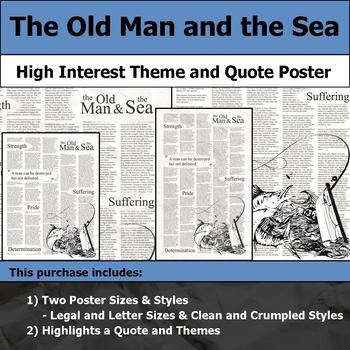 The Old Man and the Sea - Visual Theme and Quote Poster for Bulletin Boards