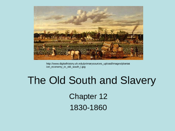 The Old South and Slavery 1830 to 1860