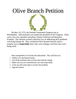 The Olive Branch Petition Project