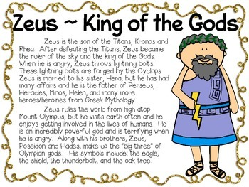 The Olympians: Kid Friendly Information Sheets about the Major Gods/Goddeses