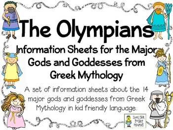 The Olympians: Kid Friendly Information Sheets about the M