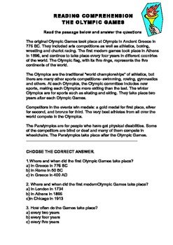 The Olympic Games Reading Comprehension