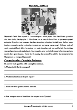 The Olympics (Lesson 2 of 5) - Olympic Sports - Grades 3&4