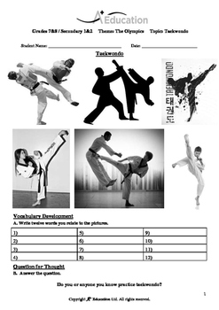 The Olympics (Lesson 4 of 5) - Taekwondo - Grades 7&8