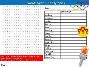 The Olympics Wordsearch Puzzle Sheet Keywords Physical Education Sport