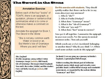 The Once and Future King Book 1 The Sword in the Stone: Close Reading Questions