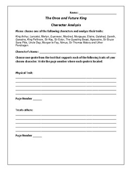 The Once and Future King - Character Analysis Activity - T.H. White