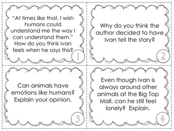 The One and Only Ivan 48 discussion task cards