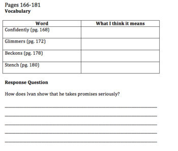 The One and Only Ivan Comprehension Questions and Vocabulary Guide