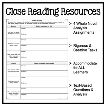 The One and Only Ivan: Fiction Close Reading Resources - Graphic Organizers