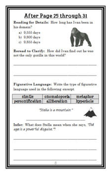 The One and Only Ivan (Katherine Applegate) Novel Study / Comprehension (33 pgs)