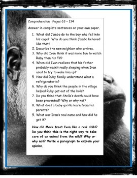 The One and Only Ivan, Katherine Applegate novel literature study guide CCSS ELA