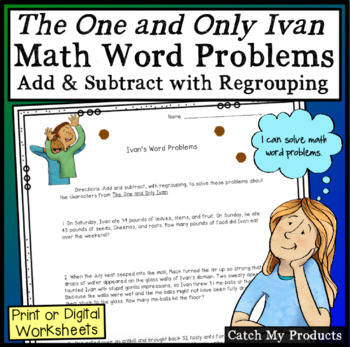 The One and Only Ivan Worksheet  *Math Word Problems*