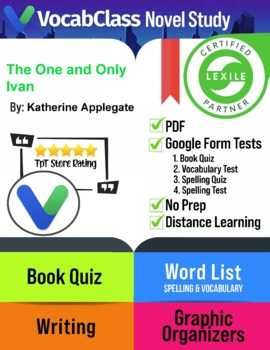 The One and Only Ivan Book Novel Study Guide PDF   READING QUIZZES   VOCABULARY+