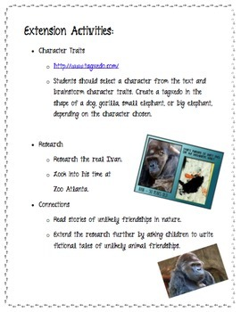 The One and Only Ivan by Katherine Applegate Novel Study Student Packet