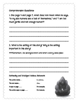 The One and Only Ivan by Katherine Applegate Student Packet - EXTENDED VERSION