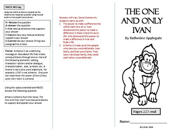 The One and Only Ivan Tri-fold/Brochure Activity #6 for pages 223-end of book