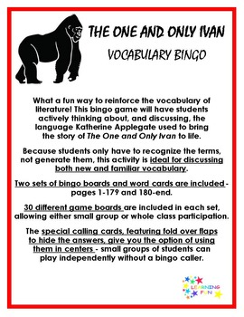 The One and Only Ivan Vocabulary Bingo