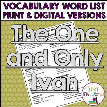 The One and Only Ivan Vocabulary Word List