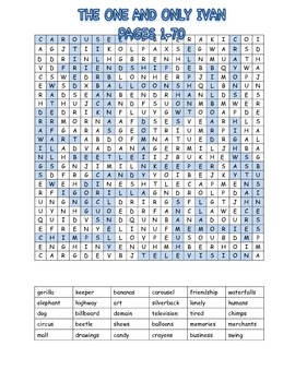 The One and Only Ivan Word Search, pages 1-70