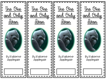 The One and Only Ivan bookmark and book tags
