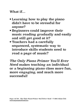 First Lessons in Reading and Playing - The Only Piano Primer You'll Ever Need