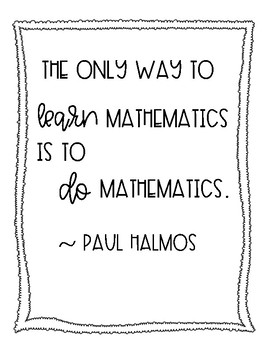The Only Way to Learn Mathematics is to Do Mathematics FREE POSTER