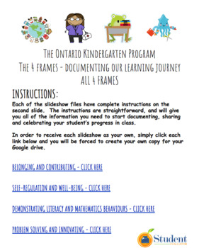The Ontario Kindergarten Program 4 frames - Google Ready Documentation!!!