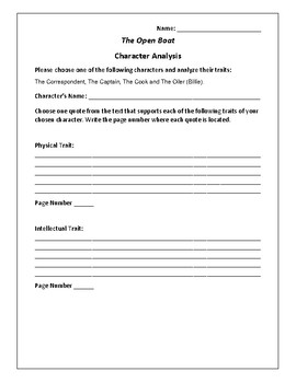 The Open Boat - Character Analysis Activity - Stephen Crane