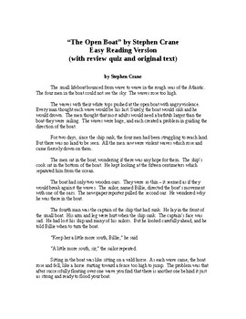 The Open Boat - Stephen Crane - Easy Reading Version (with review quiz)