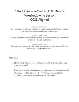 """""""The Open Window"""" Accountable Talk and Foreshadowing Activity"""