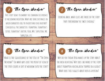 The Open Window, Richard Cory Mini Unit
