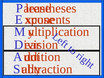"""The Order of Operations """"PEMDAS"""" and Handout, Math PowerPoint"""