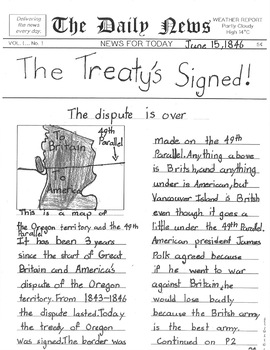The Oregon Boundary Dispute - Lesson Plan and Newspaper Writing Task
