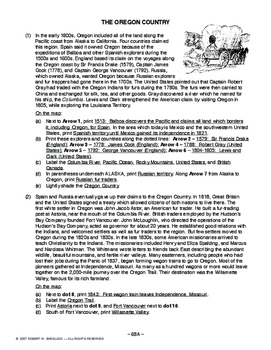 The Oregon Country, AMERICAN HISTORY LESSON 68 of 150, Fun Map Exercise+Quiz