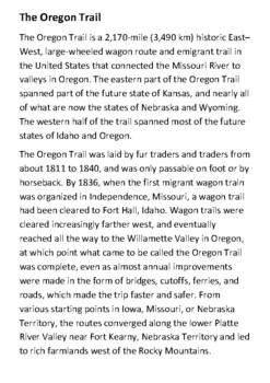 The Oregon Trail Handout